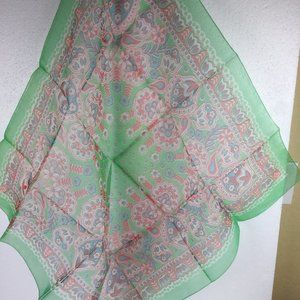 Vintage Large scarf 100% nylon square Flowers